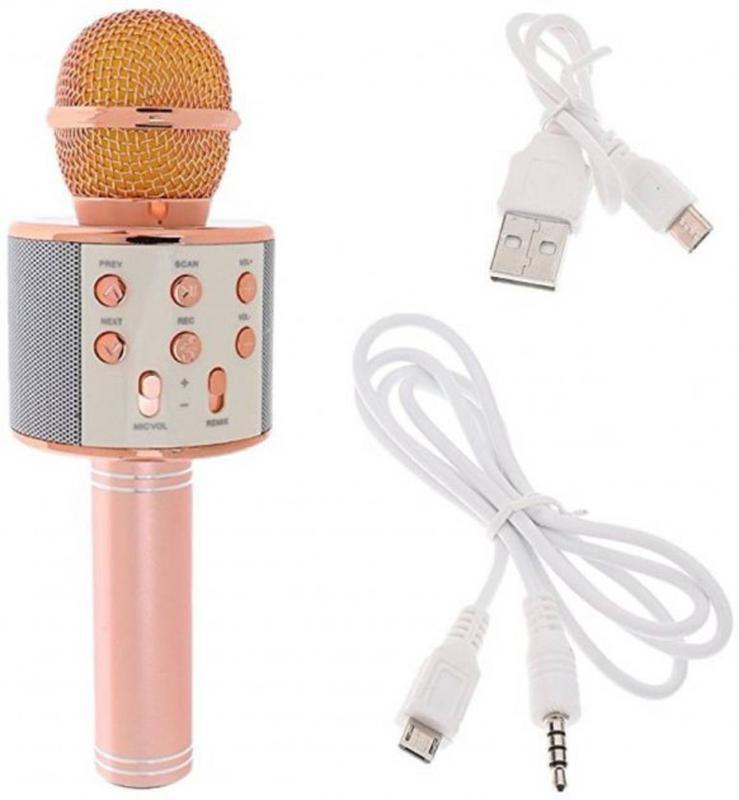 Беспроводной портативный микрофон для караоке WS858 Rose-Gold