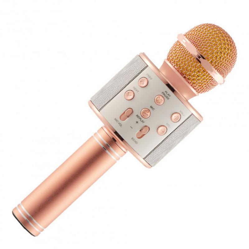Беспроводной портативный микрофон для караоке WS858 Rose-Gold - Фото 4