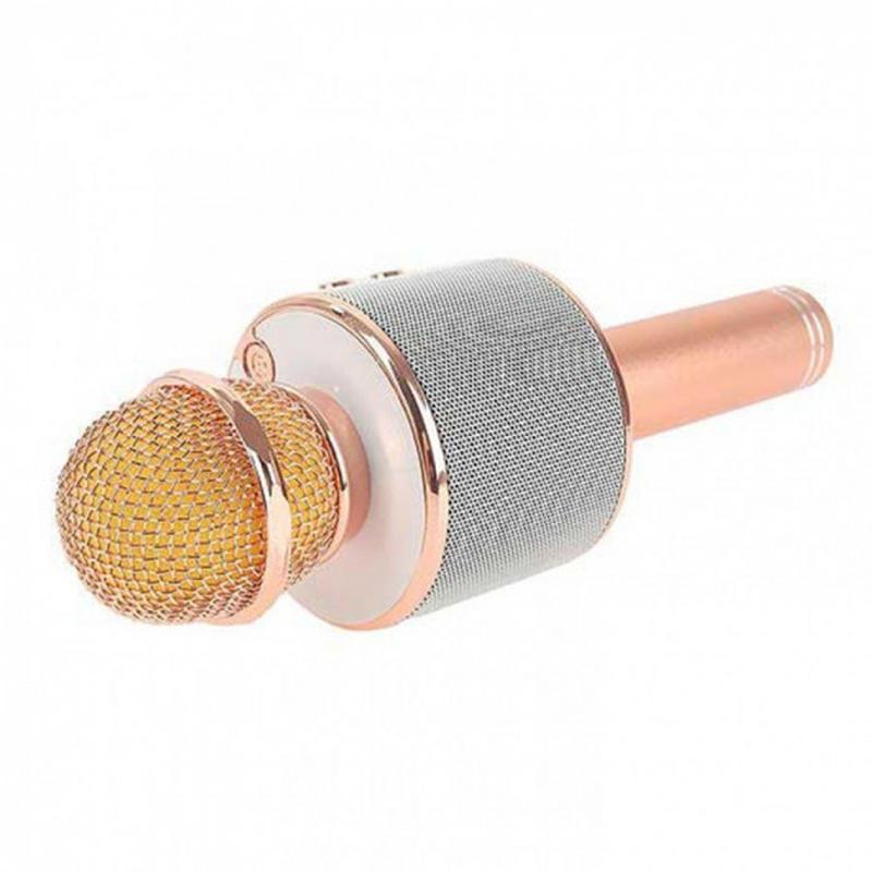 Беспроводной портативный микрофон для караоке WS858 Rose-Gold - Фото 3