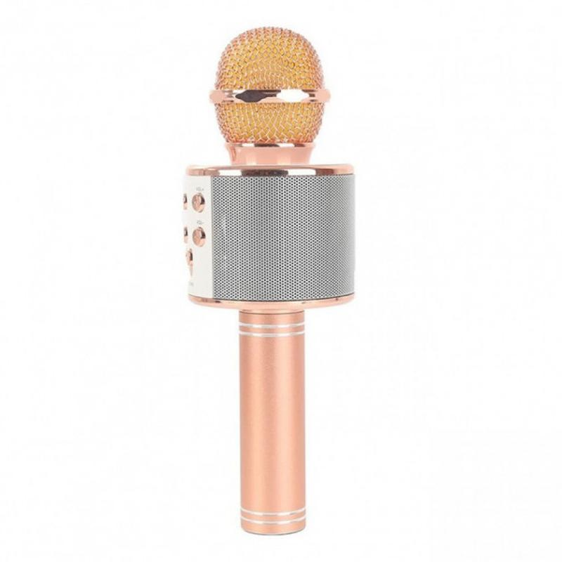 Беспроводной портативный микрофон для караоке WS858 Rose-Gold - Фото 2