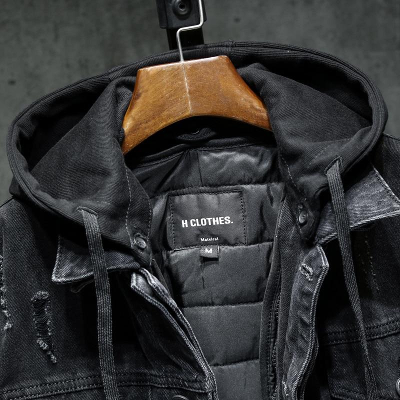 Осенняя/весенняя джинсовая куртка со съемным утеплением с капюшон - Фото 3