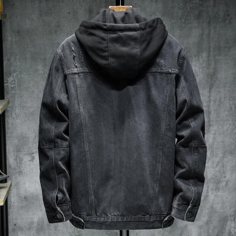 Осенняя/весенняя джинсовая куртка со съемным утеплением с капюшон - Фото 4