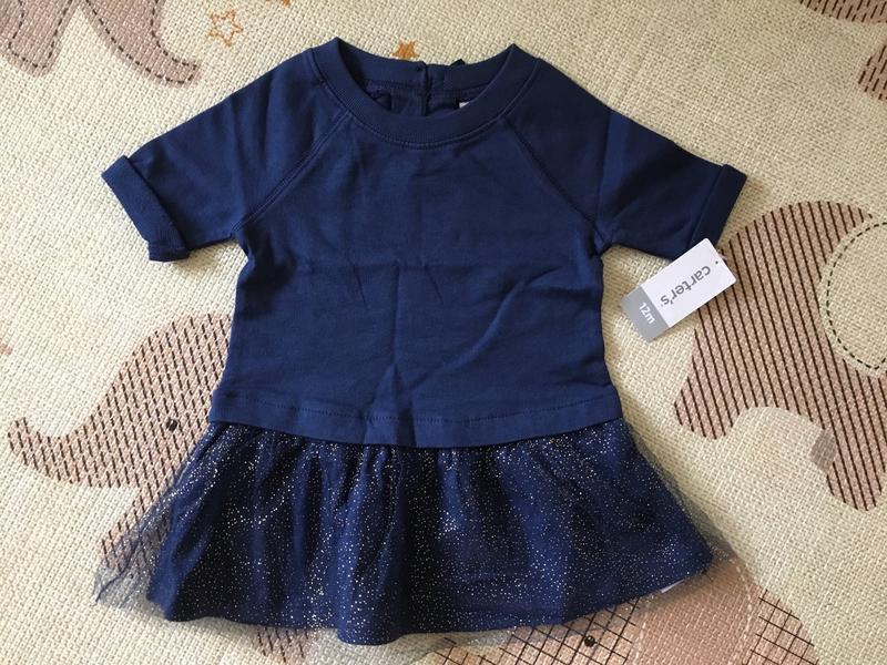 Нарядное трикотажное платье carter's рукав 3/4 на рост 72-76см...