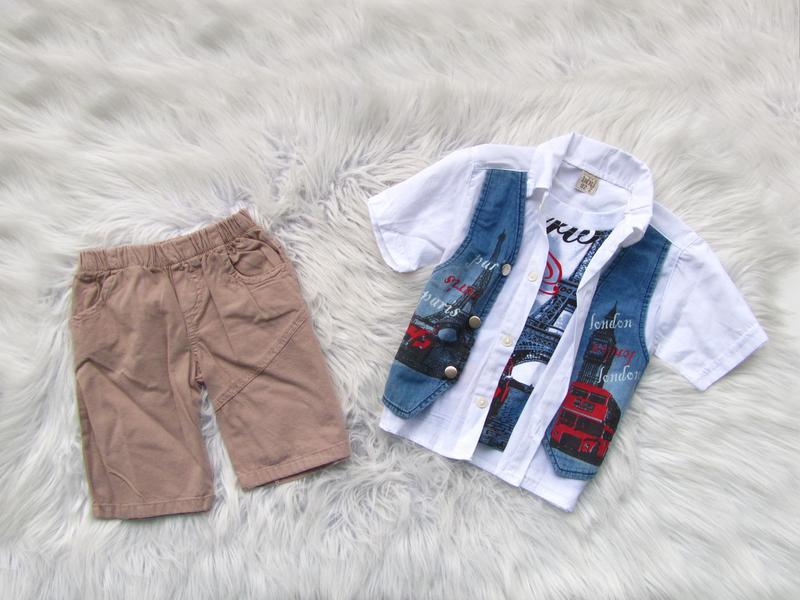 Летний костюм комплект футболка рубашка жилетка и джинсовые шо...
