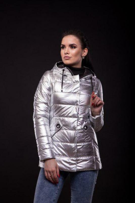 Куртка Exclusive утеплённая серебряного цвета - Фото 2