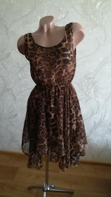 Легкое шифоновое платье, сарафан, леопардовый принт