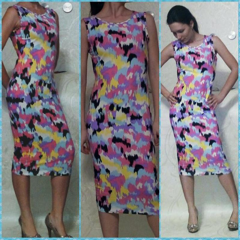 Разноцветное обтягивающее платье-чулок signature