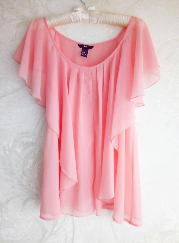 Нежная шифоновая персиковая блуза