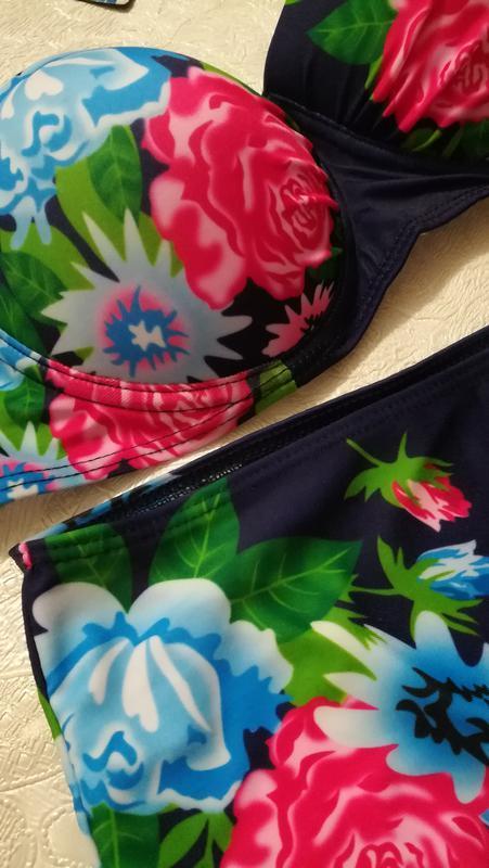 Шикарный купальник, высокая талия, цветочный принт - Фото 3
