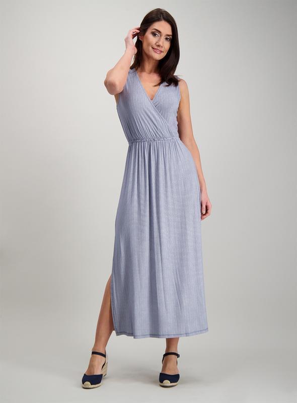 Красивое трикотаж платье в полоску с разрезами 14/48-50 размера