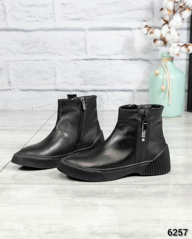 ❤ женские черные зимние никзие кожаные ботинки сапоги ботильон...