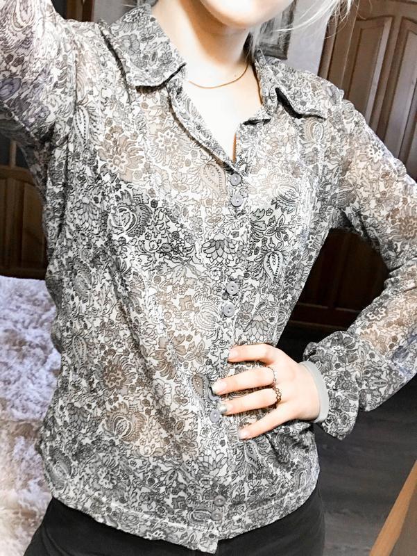 Прозрачная прекрасная брендовая рубашка-блуза - Фото 5