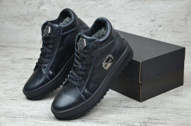 Натуральная кожа мужские зимние кожаные ботинки кеды на меху с...