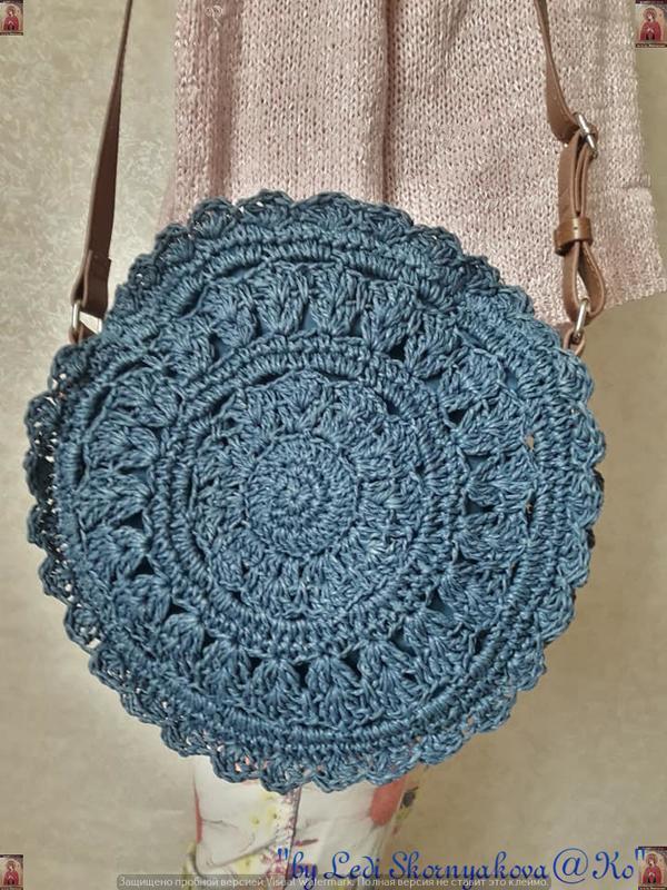 Новая плетенная соломенная лёгкая круглая нежная летняя сумка ... - Фото 3