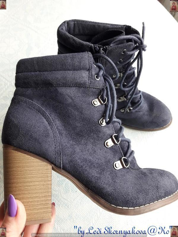 Ботинки осень-весна синего цвета на толстом устойчивом каблуке...