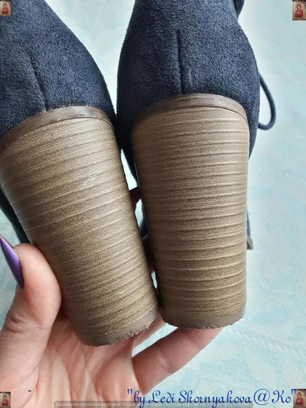 Ботинки осень-весна синего цвета на толстом устойчивом каблуке... - Фото 4