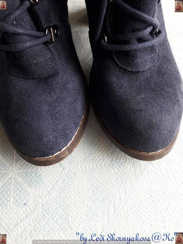 Ботинки осень-весна синего цвета на толстом устойчивом каблуке... - Фото 6