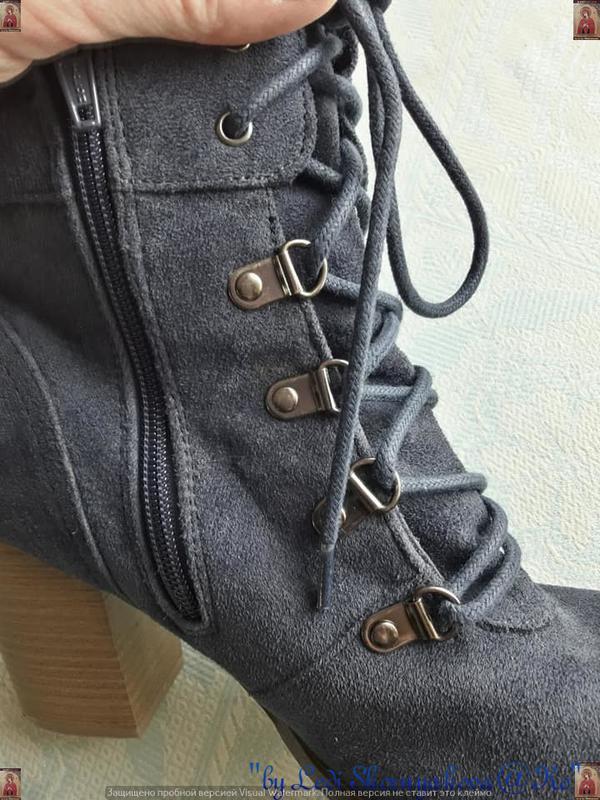 Ботинки осень-весна синего цвета на толстом устойчивом каблуке... - Фото 7