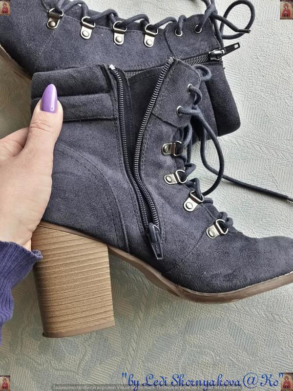 Ботинки осень-весна синего цвета на толстом устойчивом каблуке... - Фото 8