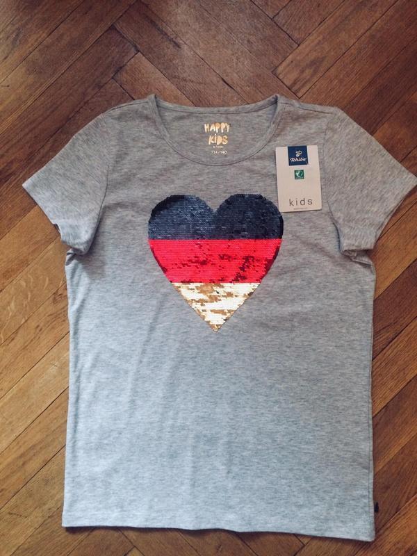 Стильная футболка с паетками,хлопок,от tcm tchibo