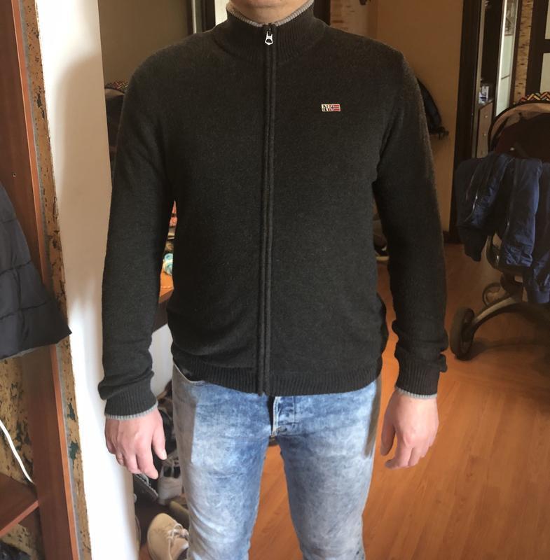 Кофта свитер шерстяной кардиган на змейке napapijri