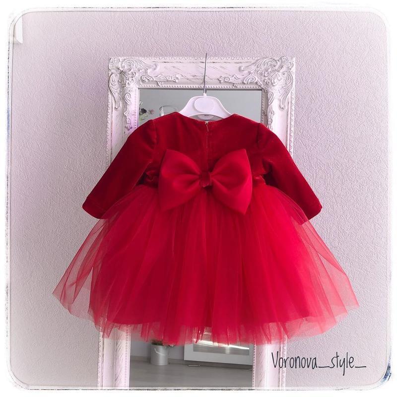 Красное пышное платье на годик