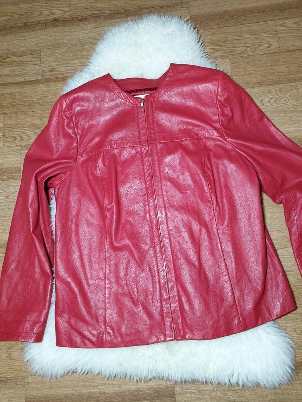 Красная кожаная куртка, жакет marina rinaldi