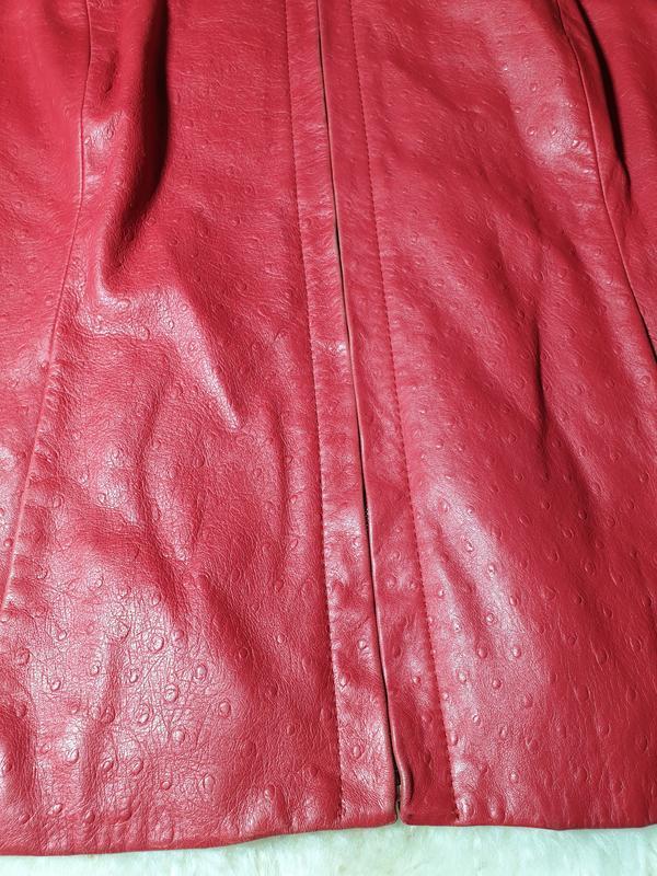 Красная кожаная куртка, жакет marina rinaldi - Фото 2