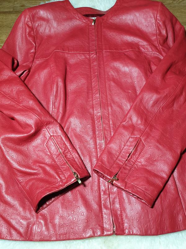 Красная кожаная куртка, жакет marina rinaldi - Фото 3