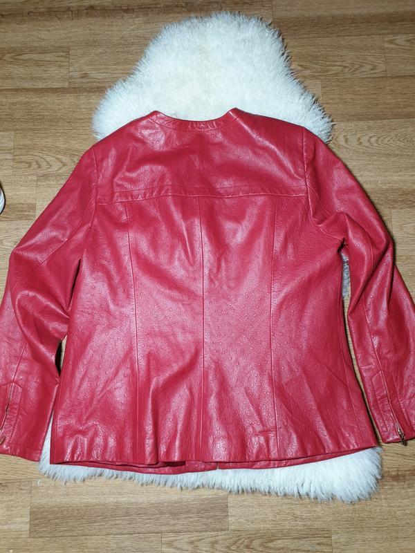 Красная кожаная куртка, жакет marina rinaldi - Фото 4