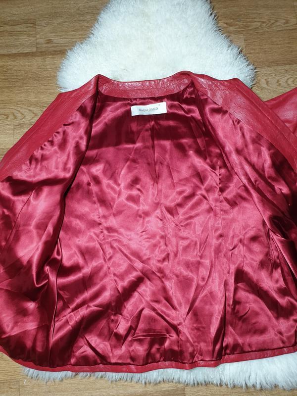 Красная кожаная куртка, жакет marina rinaldi - Фото 5