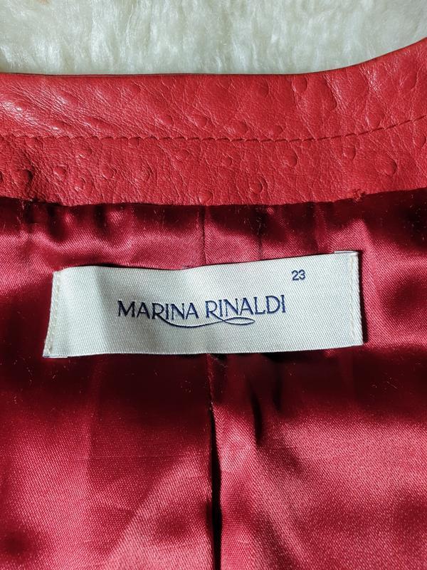 Красная кожаная куртка, жакет marina rinaldi - Фото 6