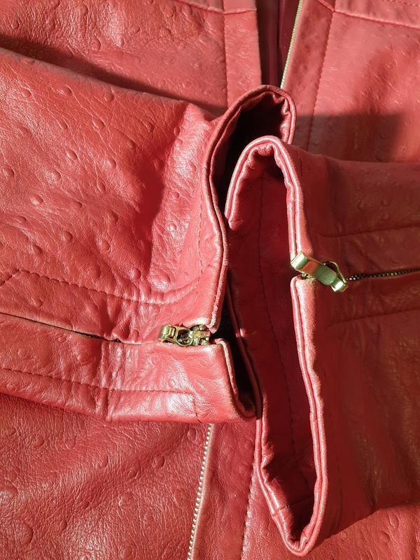 Красная кожаная куртка, жакет marina rinaldi - Фото 9