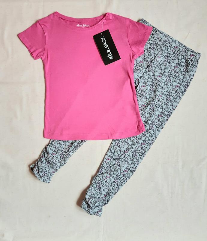 Комплект футболка и лосины розово серые бабочки topolino герма...