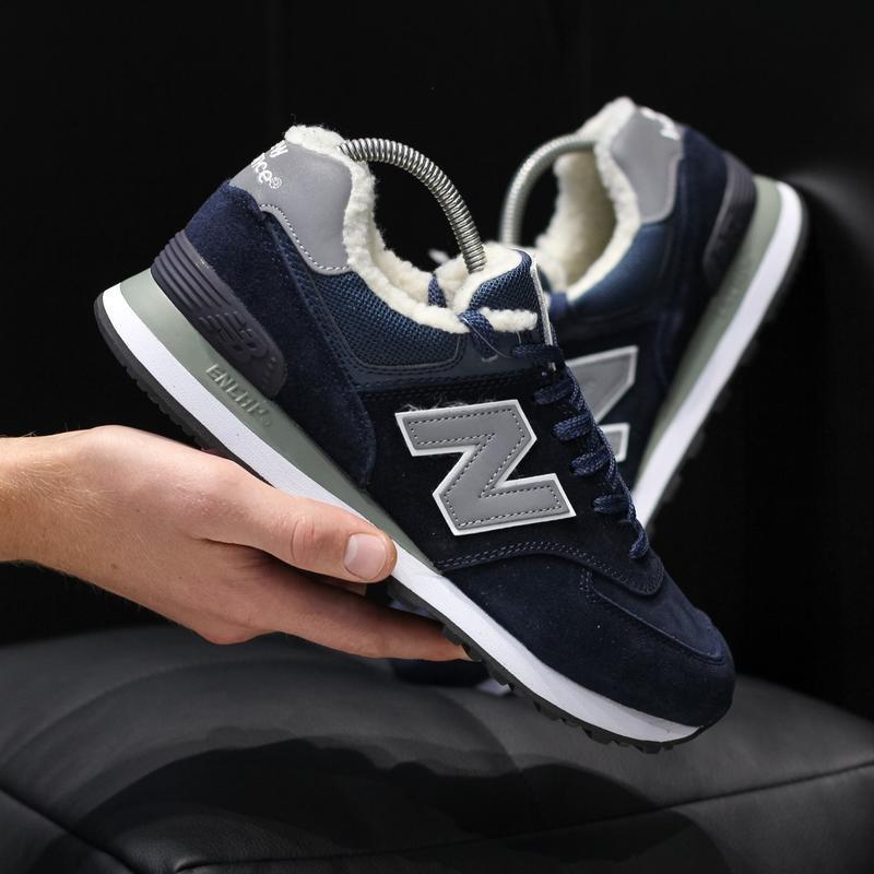 New balance 574 blue✳️зимние✳️мужские кроссовки нью беленс син...