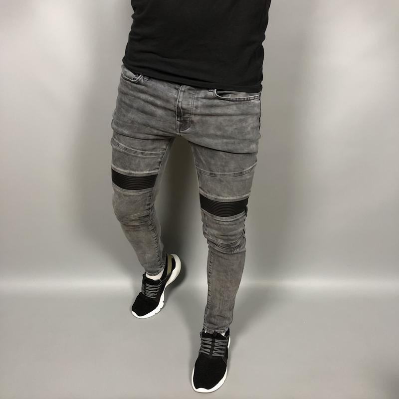 Мужские джинсы с кожаными вставками (#1s19)