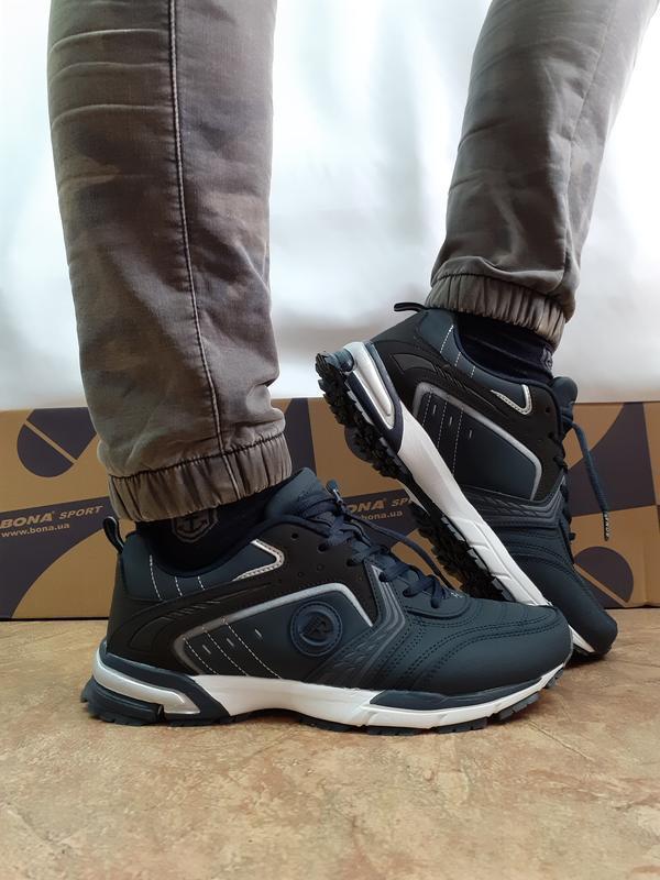Скидка!комфортные кроссовки мужские синие из нубука bona 42-46р.