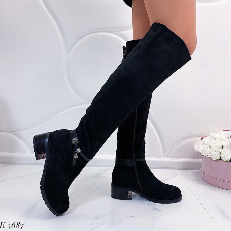 Зимние сапоги ботфорты на каблуке,чёрные тёплые сапоги на меху.