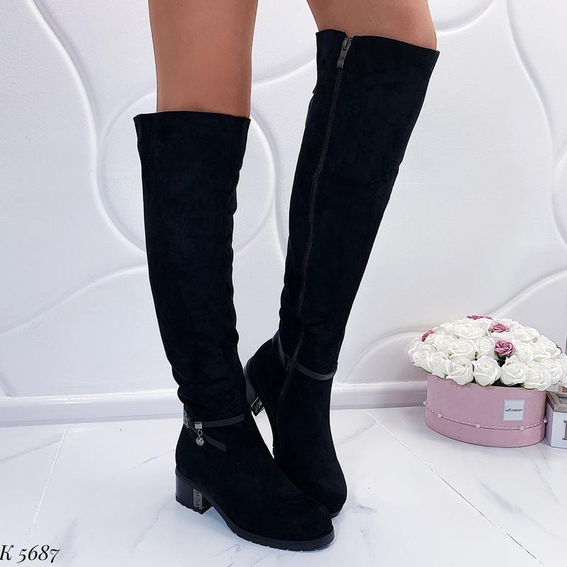 Зимние сапоги ботфорты на каблуке,чёрные тёплые сапоги на меху. - Фото 3