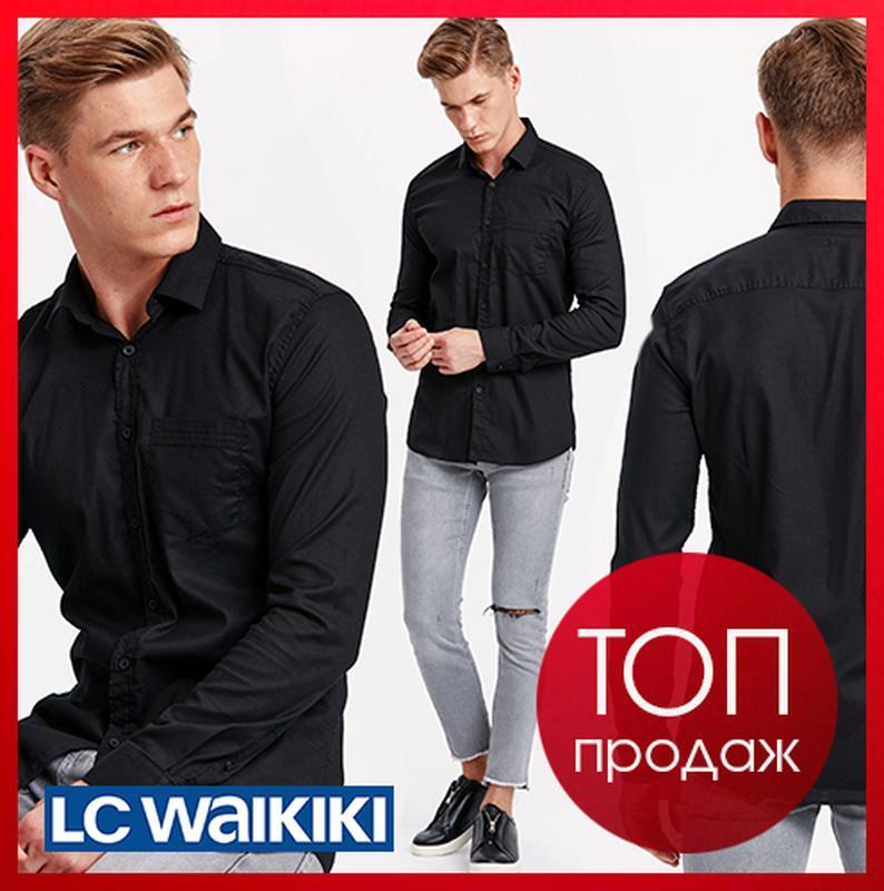Черная мужская рубашка lc waikiki / лс вайкики на черных пугов...