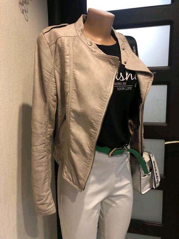 Кожаная куртка пиджак косуха - Фото 7