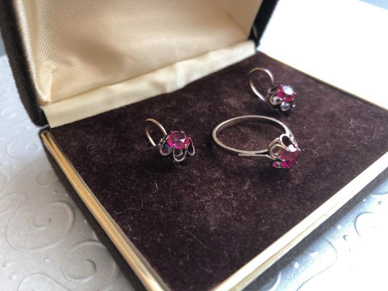 Винтажный набор серебро ссср 875 звезда, кольцо серьги рубин - Фото 3