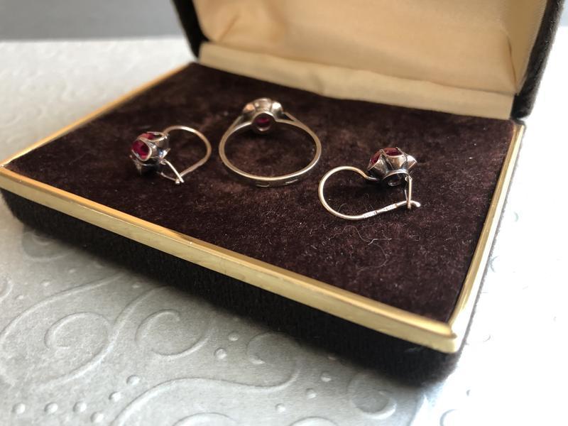 Винтажный набор серебро ссср 875 звезда, кольцо серьги рубин - Фото 6