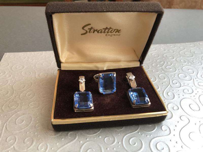 Винтажные серьги и кольцо топаз серебро 925 проба, тризуб