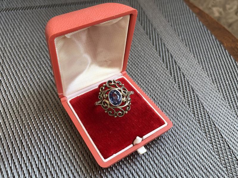 Кольцо винтажное серебро 875 проба, звезда, топаз, ссср