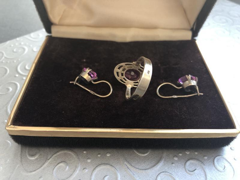 Винтажный набор серебро ссср 875 звезда, кольцо серьги аметист - Фото 5