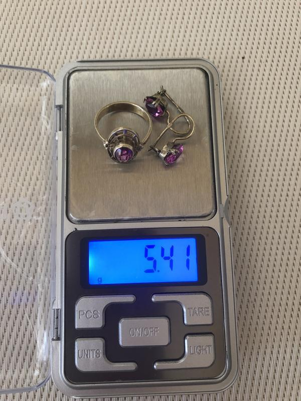Винтажный набор серебро ссср 875 звезда, кольцо серьги аметист - Фото 6