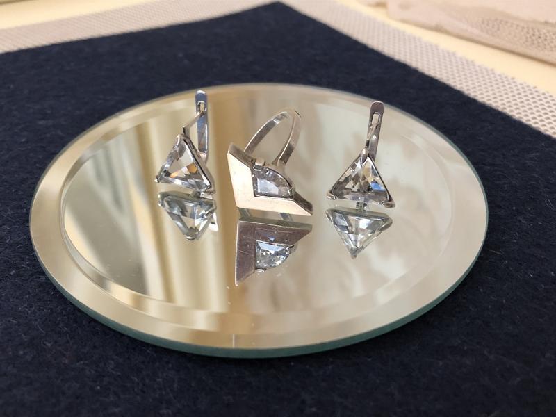 Серебро 925, тризуб кольцо серьги горный хрусталь комплект набор