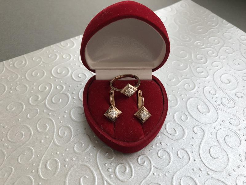 Серебро 925, тризуб кольцо серьги циркон комплект набор