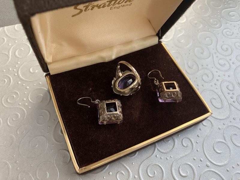 Набор серьги и кольцо ссср, серебро 875 звезда, аметист - Фото 6